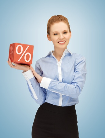 picture of beautiful woman with big percent box photo