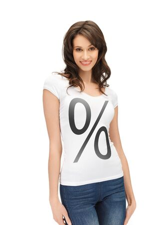 picture of smiling woman in shirt with percent sign photo