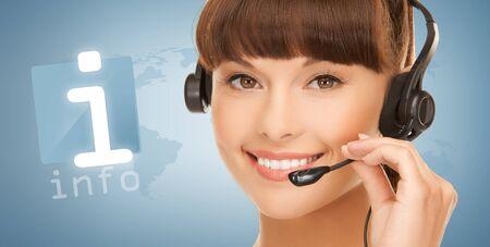 helpline: female helpline operator with headphones and virtual information button Stock Photo