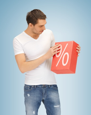 picture of handsome man with big percent box Stock Photo - 19347227