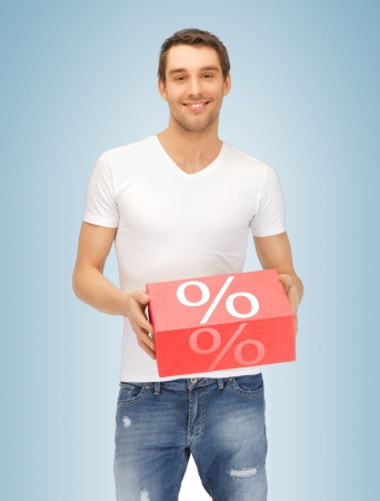 picture of handsome man with big percent box photo