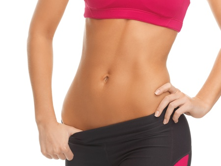 six pack abs: close up picture of woman trained abs Stock Photo