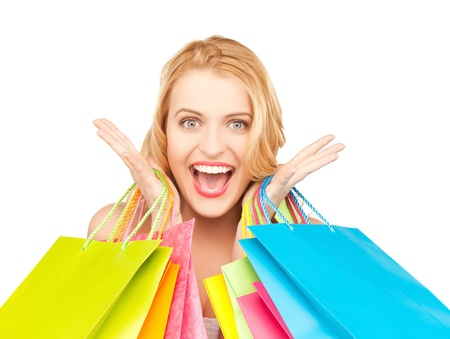 overspending: picture of crazy woman with shopping bags