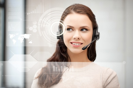 futuristic female helpline operator with headphones and virtual screen Stock Photo - 19412421