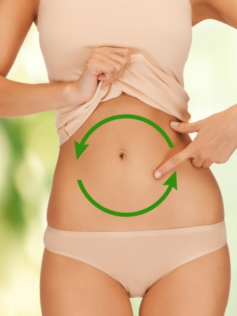 bowel: bright closeup picture of woman showing belly