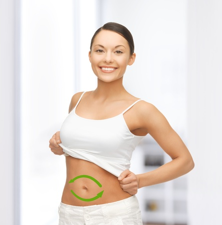 picture of beautiful sporty woman with arrows on her stomach Stock Photo - 19412159