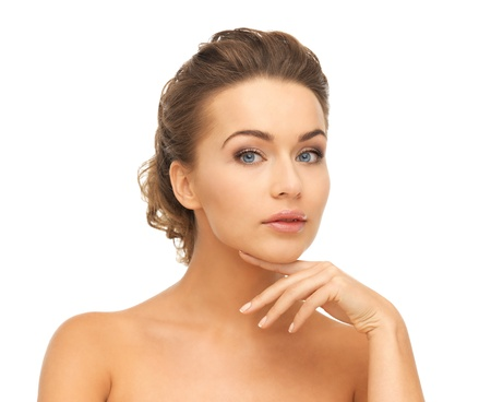close up of face and hands of beautiful woman Stock Photo - 19412536