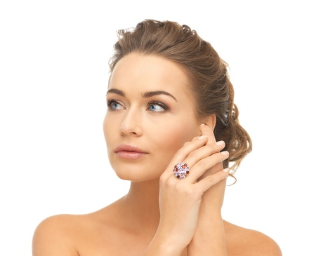 ear ring: picture of beautiful woman with cocktail ring