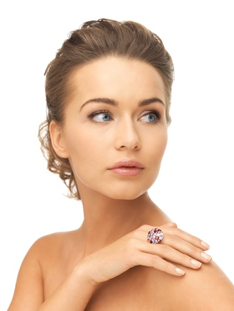picture of beautiful woman with cocktail ring photo
