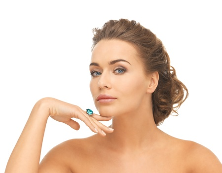 aquamarin: picture of beautiful woman with cocktail ring