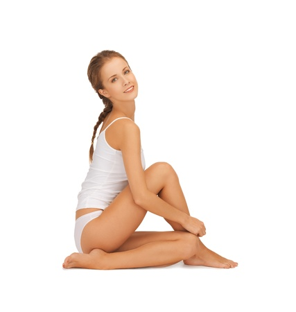 fat burning: picture of beautiful woman in white cotton underwear Stock Photo