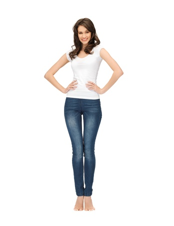 jeans woman: picture of happy woman in blank white t-shirt Stock Photo