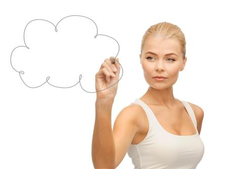 kwaśne deszcze: mylić cloud kobieta rysunek w powietrzu Zdjęcie Seryjne