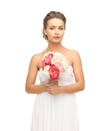 picture of young woman with bouquet of flowers  Stock Photo