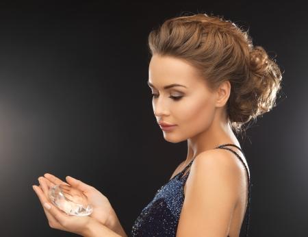 beautiful woman in evening dress with big diamond Stock Photo - 19484030
