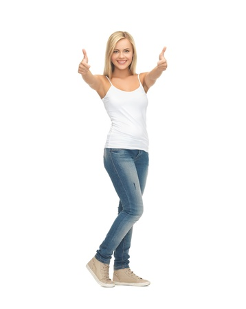 thumbs up woman: picture of happy woman in blank white t-shirt showing thumbs up