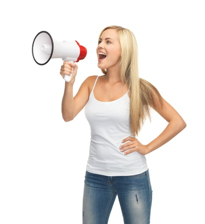 megaphone: happy woman in blank white t-shirt with megaphone