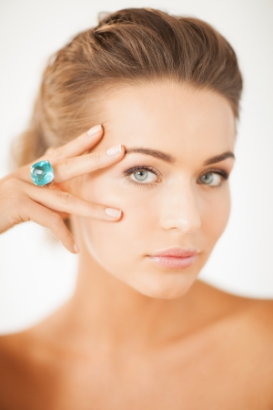aquamarin: picture of beautiful woman with one jewelry ring Stock Photo