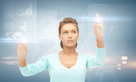 telecommute: picture of businesswoman working with something imaginary
