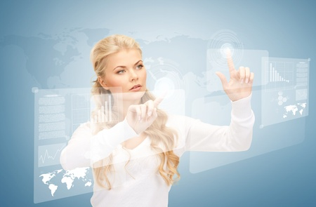 telecommute: picture of businesswoman working with virtual screens Stock Photo