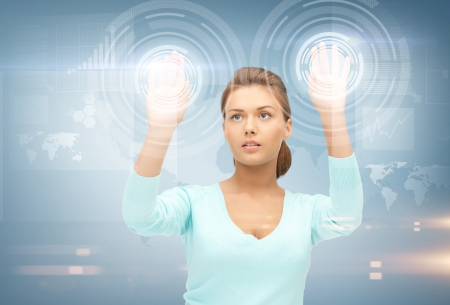global innovation: picture of businesswoman working with something imaginary