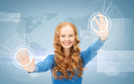 picture of businesswoman working with virtual screens Stock Photo - 19504925