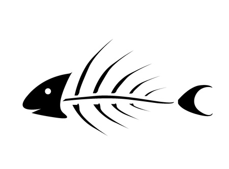 skeleton fish: vector illustration of black fishbone over white