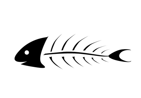 dead fish: vector illustration of black fishbone over white