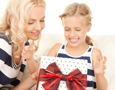 picture of mother and daughter with gift box Stock Photo - 19563035
