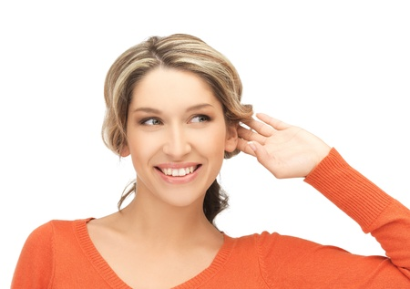 bruit: bright picture of happy woman listening gossip