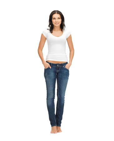 young girl barefoot: picture of smiling woman in blank white t-shirt Stock Photo
