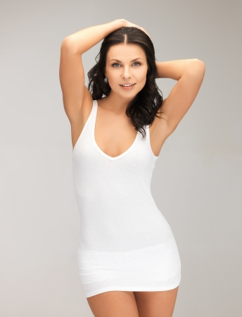 tank top: picture of sexy woman in blank white t-shirt