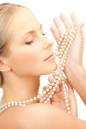 string of pearls: picture of beautiful woman with pearl necklace Stock Photo