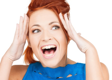 bright picture of excited face of woman photo
