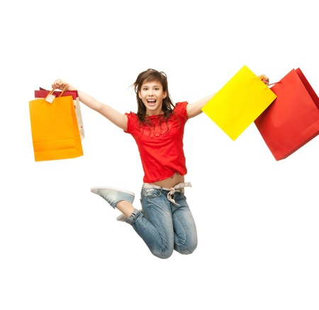 picture of happy girl with shopping bags   Stock Photo