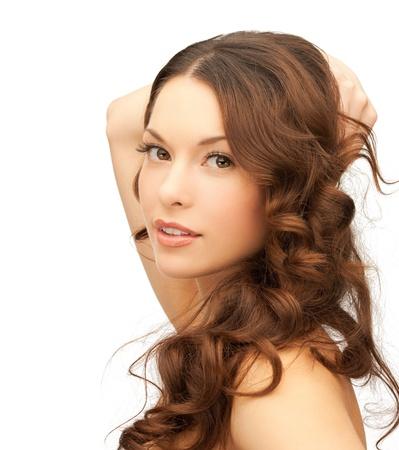 schöne frauen: Bild der schönen Frau mit langen Haaren spielen Lizenzfreie Bilder