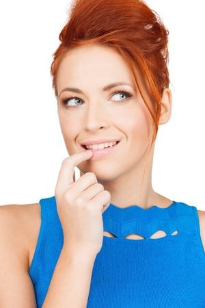 bright picture of thoughtful woman holding finger in her mouth Stock Photo - 19611806