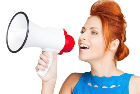 shouting woman with megaphone photo