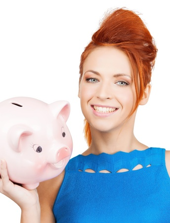 picture of lovely woman with big piggy bank photo