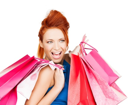 picture of funny woman with shopping bags   photo