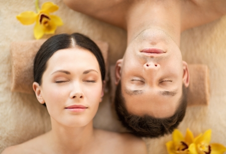 picture of couple in spa salon lying on the massage desks Stock Photo - 19703203