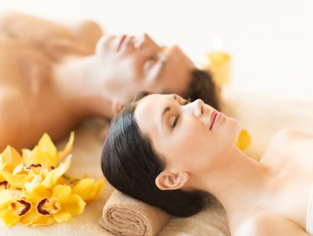 picture of couple in spa salon lying on the massage desks Stock Photo - 19703183