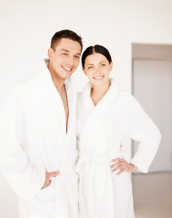picture of couple in spa salon in white bathrobes Stock Photo - 19703016