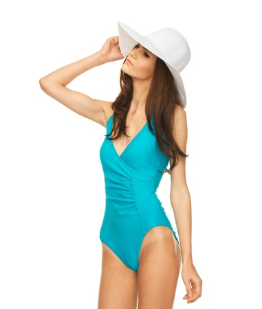 picture of model posing in swimsuit with hat  photo