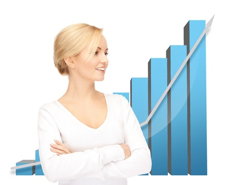 picture of beautiful businesswoman with big 3d chart Stock Photo - 19730346