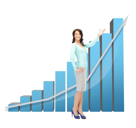 beautiful businesswoman pointing at big 3d chart photo