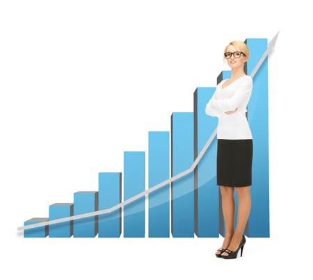 picture of beautiful businesswoman with big 3d chart Stock Photo - 19730248