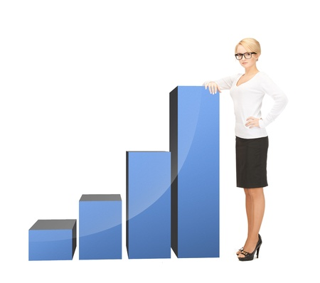 increase sales: beautiful businesswoman leaning on big 3d chart