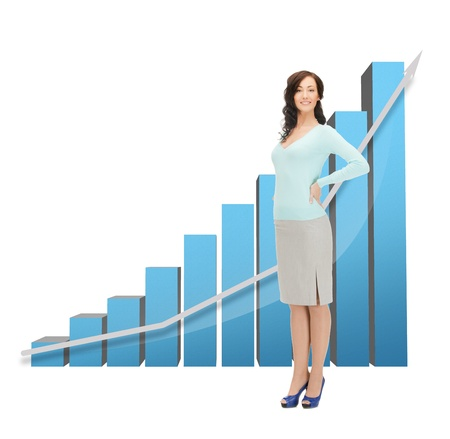 picture of beautiful businesswoman with big 3d chart photo