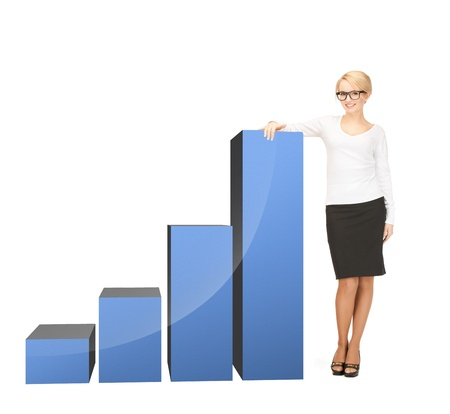 beautiful businesswoman leaning on big 3d chart Stock Photo - 19730198